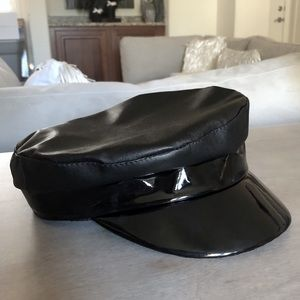 Vegan leather and patent combo page boy hat